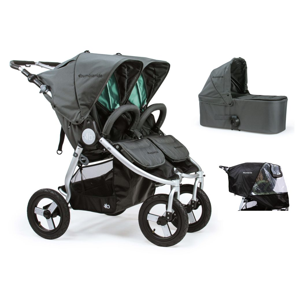 Bumbleride Indie Twin 2 in 1 Dawn Grey Mint (Stroller Carrycot Raincover)
