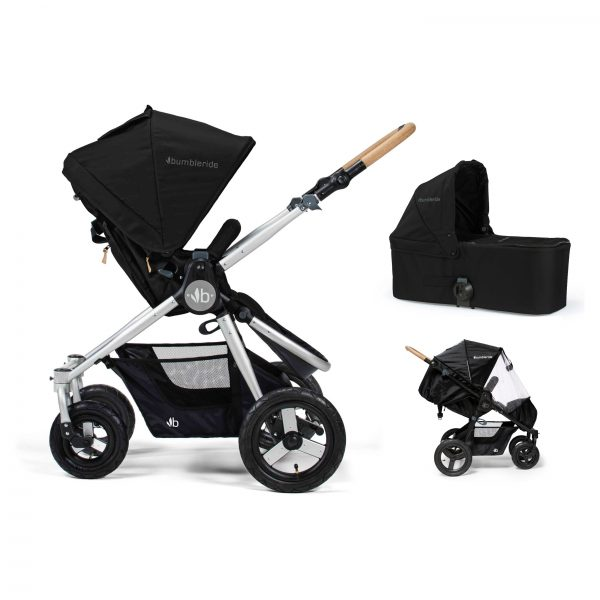 Bumbleride Era 2 in 1 Silver Black (Stroller Carrycot Raincover)